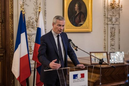 Bruno Le Maire durant son discours à l'ambassade de France. Crédits : Business France Russie